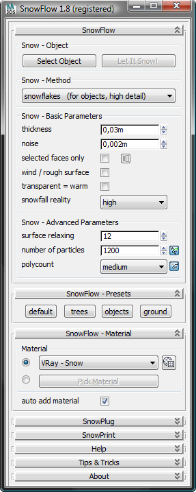SnowFlow Interface Screenshot